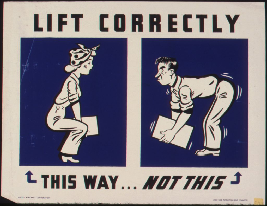 A diagram demonstrating how to lift properly