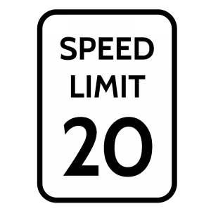 A speed limit sign