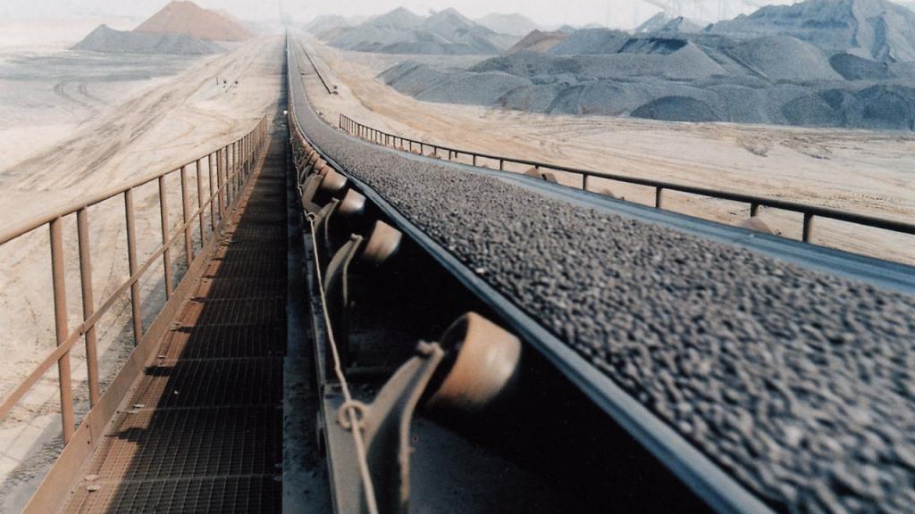 Iron ore on a conveyor