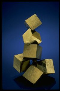 Photograph of pyrite stacked cubes, from the National Mineral Collection