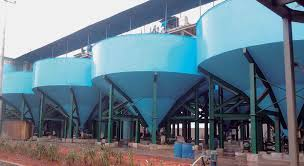 A photo of a deep cone thickener.